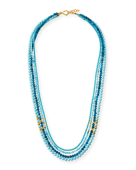 Dina Mackney Sleeping Beauty Turquoise and Stone Necklace