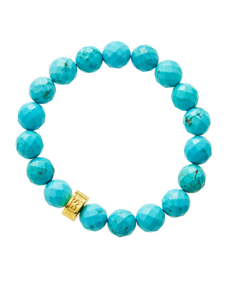 NEST Jewelry Faceted Turquoise Bead Stretch Bracelet