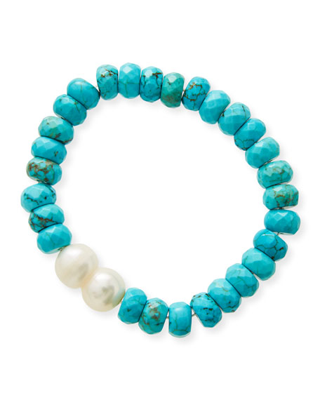 NEST Jewelry Faceted Turquoise Rondelle Baroque Pearl Stretch Bracelet