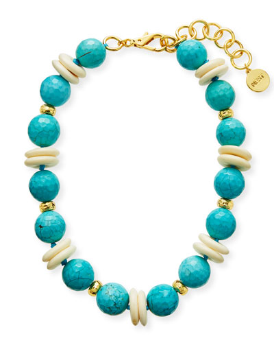 Large Turquoise Bib Necklace Multi Faceted Stone/'s Framed In Gold