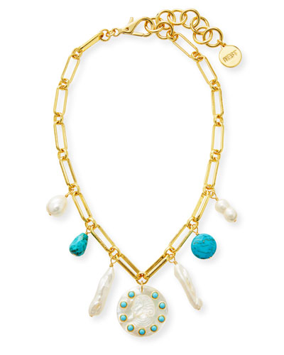 Pearl, Turquoise and Carved Cameo Charm Necklace