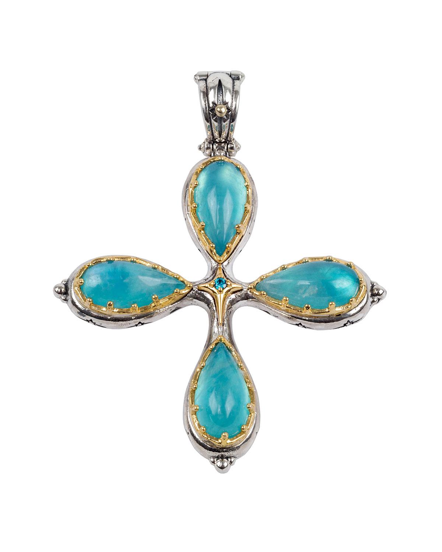 Astria Aquamarine Cross Pendant