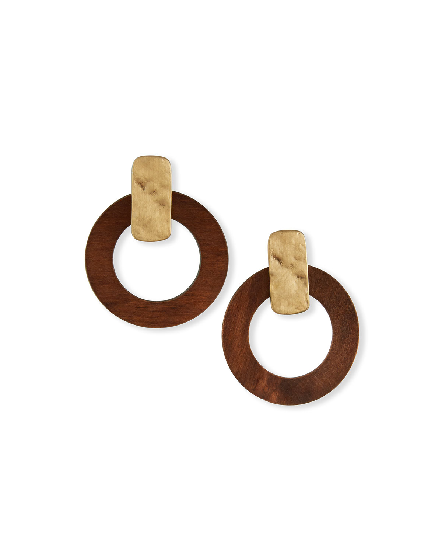 Wood-Circle Post Earrings