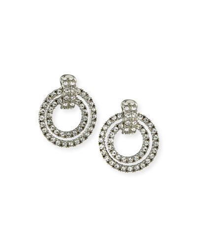 Crystal Double Door-Knocker Clip Earrings
