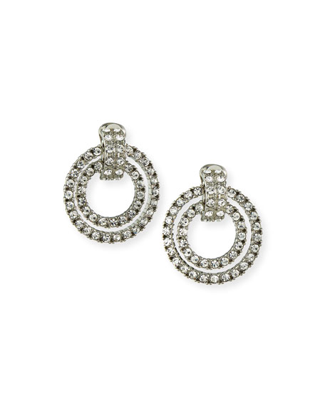 Kenneth Jay Lane Crystal Double Door-Knocker Clip Earrings