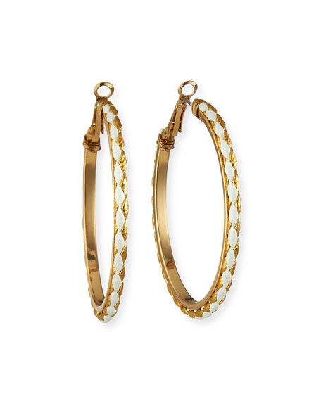 Kenneth Jay Lane Leather Hoop Earrings, Gold