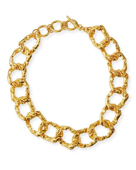Kenneth Jay Lane Hammered Link Necklace