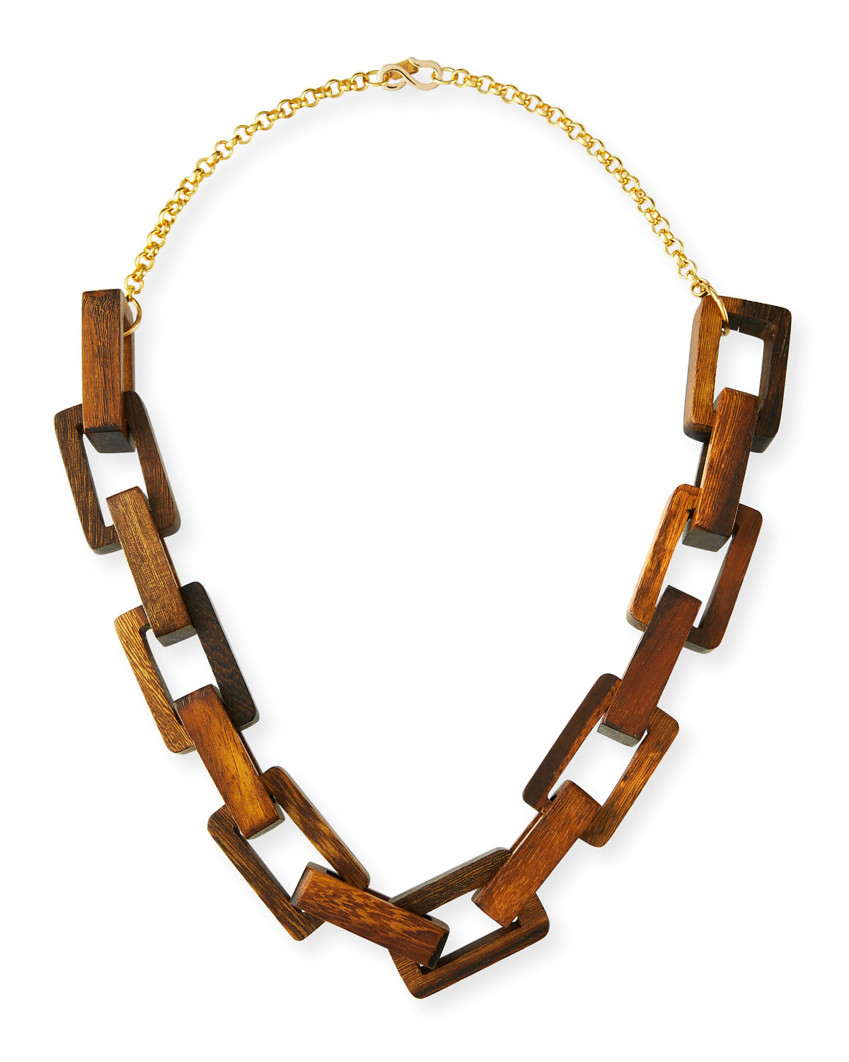 Wooden Square-Link Necklace