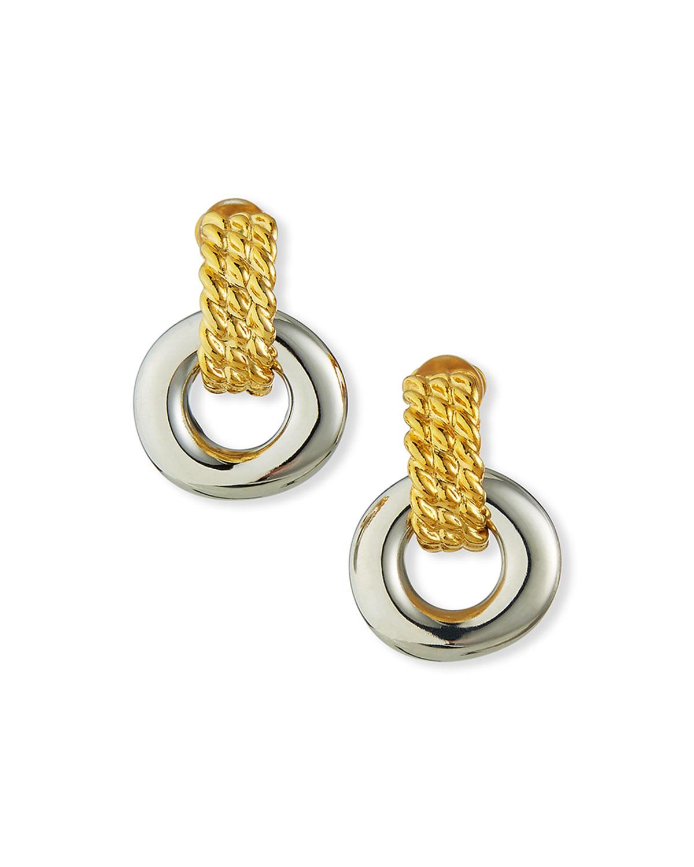 Two-Tone Clip Earrings