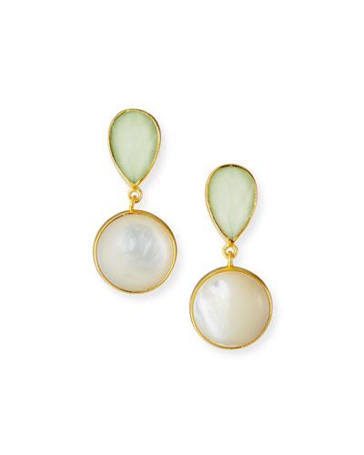 Lemon Chrysoprase/Mother-of-Pearl Earrings