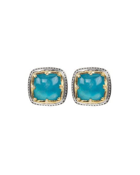 Konstantino Astria Square Aquamarine Stud Earrings