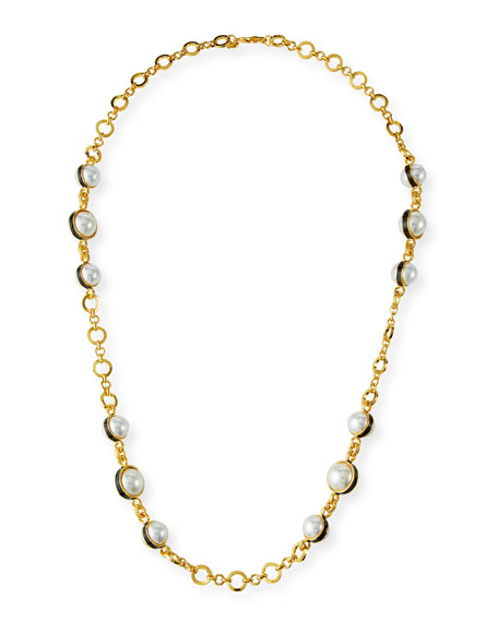Kenneth Jay Lane Pearly Link Necklace