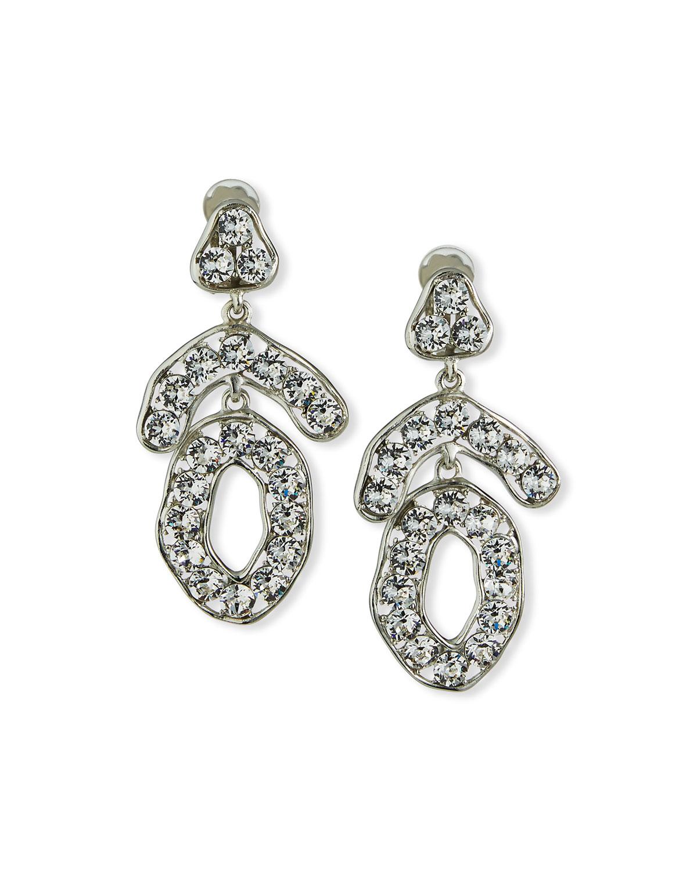 Mixed-Shape Crystal Clip Earrings