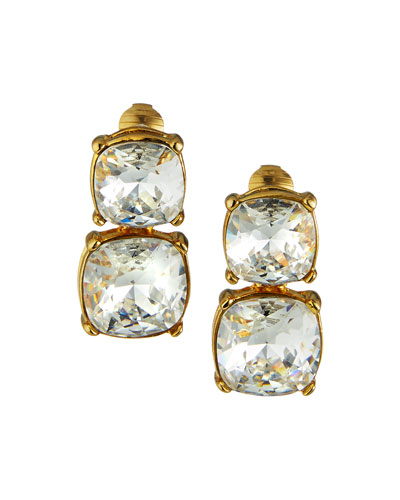 Double Crystal Clip Earrings