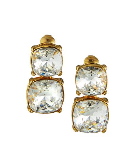 Kenneth Jay Lane Double Crystal Clip Earrings