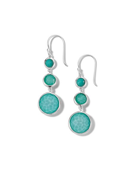 Ippolita Lollipop Lollitini 3-Stone Drop Earrings in Sterling Silver with Turquoise Doublet