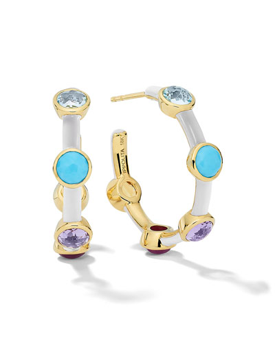 Lollipop Carnevale 5-Stone Hoop Earrings in 18K Gold with Multi Stones and ...
