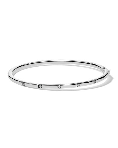 Stardust Thin Hinged Bangle in Sterling Silver with Diamonds