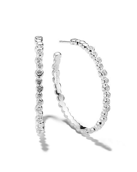 Ippolita Stardust Bezel-Set Hoop Earrings in Sterling Silver with Diamonds