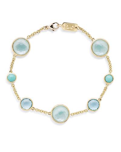 Lollipop 7-Stone Link Bracelet in 18K Gold with Turquoise/Swiss Blue ...