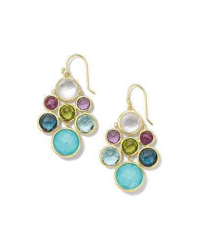 18K Lollipop Multi Stone Cascade Earrings in Rainbow