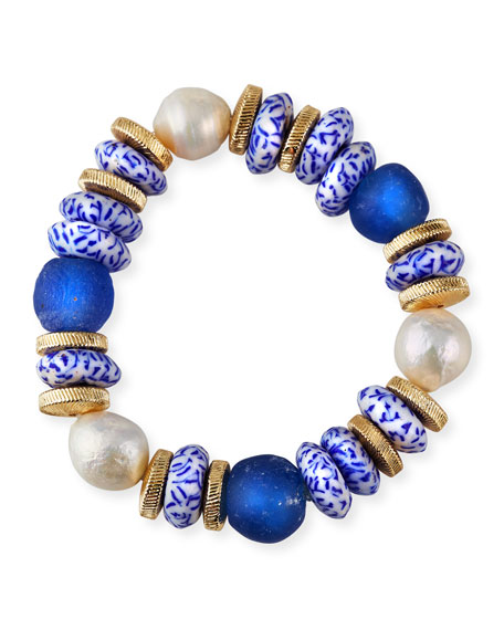 Akola Pearl and Bead Stretch Bracelet, Blue