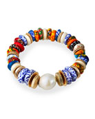Akola Pearl and Bead Stretch Bracelet