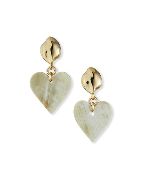 Akola Horn Heart-Drop Earrings, White
