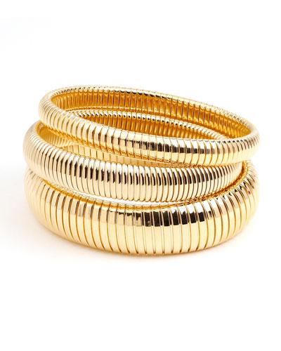 Cobra Elastic Bracelets, Set of 3, Gold