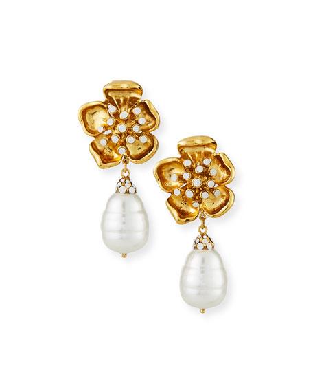 Jose & Maria Barrera Flower Clip Pearly Baroque Earrings