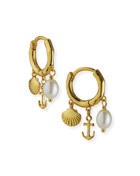 gorjana Seashell Charm Huggie Hoop Earrings
