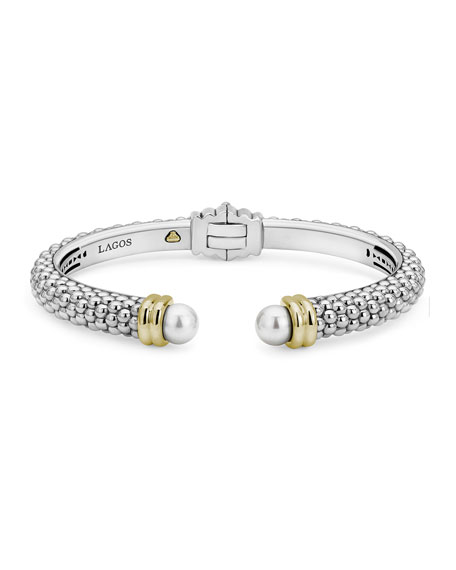 Lagos Luna Pearl 2-Tone Cuff Bracelet