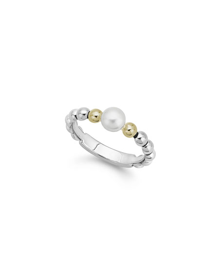 Lagos Luna Pearl 2-Tone Stack Ring, Size 7