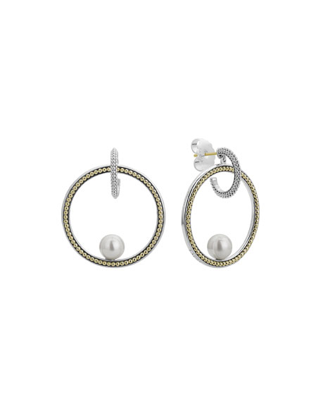 Lagos Luna Pearl Circle Drop Earrings