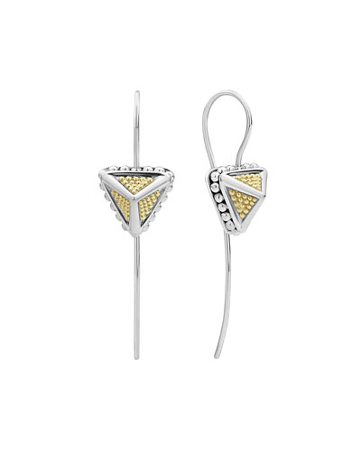 KSL 2-Tone Pyramid Drop Earrings, 1.5