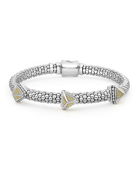 Lagos KSL 2-Tone 3-Pyramid Bracelet