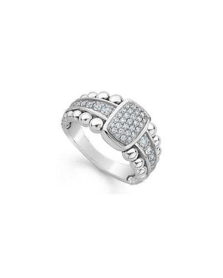 Lagos Caviar Spark Pave Diamond Ring, Size 7