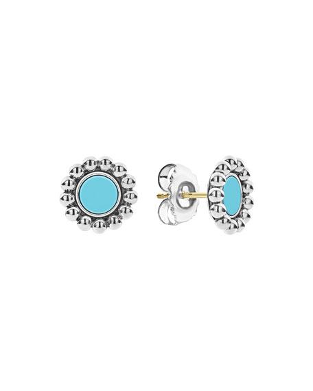 Lagos Maya 12mm Round Inlay Stud Earrings, Turquoise