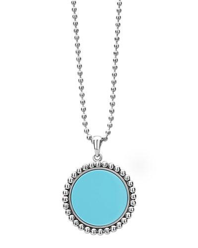 Maya 32mm Inlay Pendant Necklace, Blue