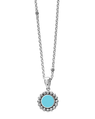 Maya 16mm Round Inlay Pendant Necklace, Blue