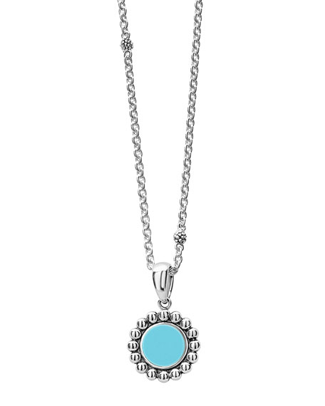 Lagos Maya 16mm Round Inlay Pendant Necklace, Blue