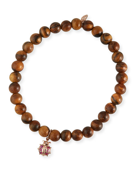 Sydney Evan 14k Rose Gold Wood Ruby Ladybug Bracelet