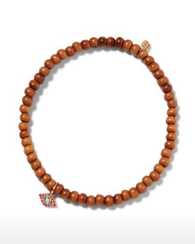 14k Sandalwood Ruby Evil Eye Bracelet