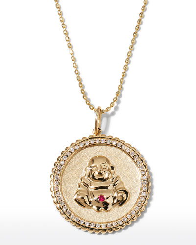 14k Buddha Coin Pendant Necklace with Diamonds