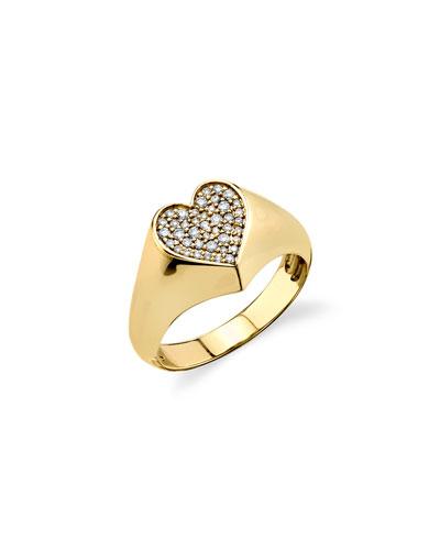 14k Diamond Pave Heart Pinky Ring, Size 4