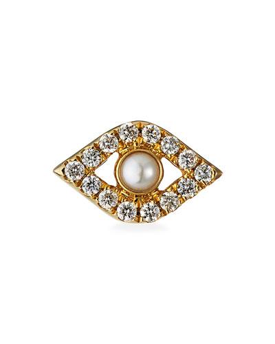 14k Pearl Stud Diamond Evil Eye Earring, Single