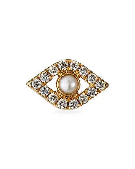 Sydney Evan 14k Pearl Stud Diamond Evil Eye Earring, Single