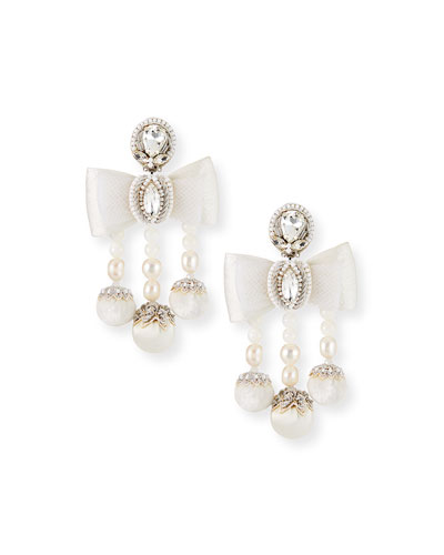 Camille Pearl Bow Clip Earrings