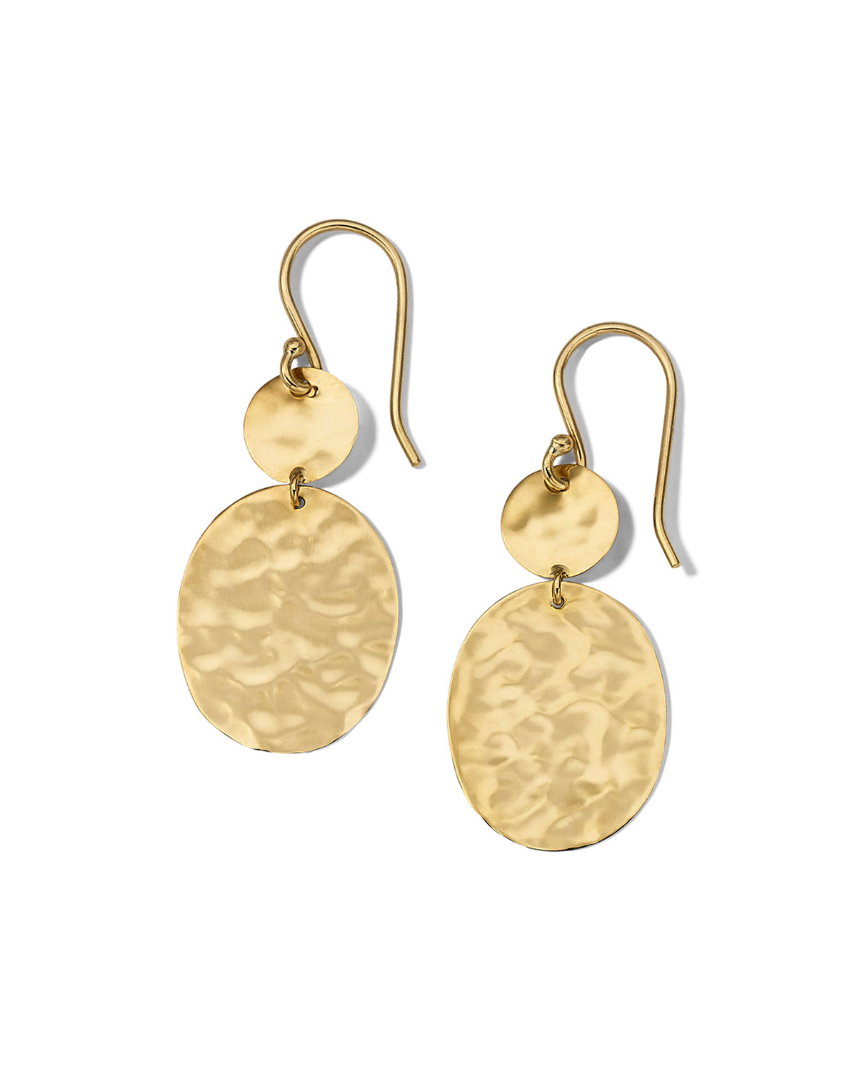Classico Crinkle Hammered Circle Oval Drop Earrings in 18K Gold