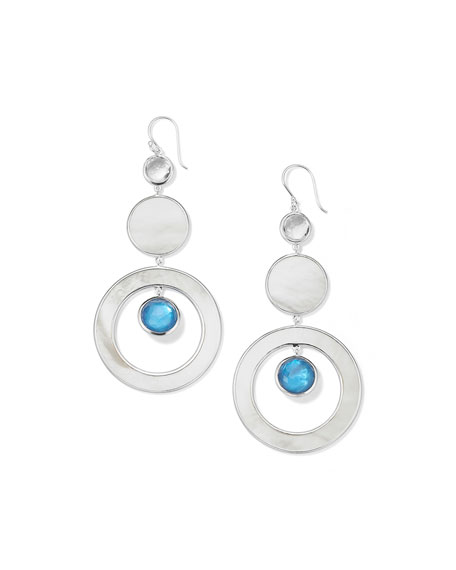 Ippolita Wonderland 3-Tier Circle Earring in Sterling Silver with Mother-of-Pearl and Doublets in Adriatic and Sky